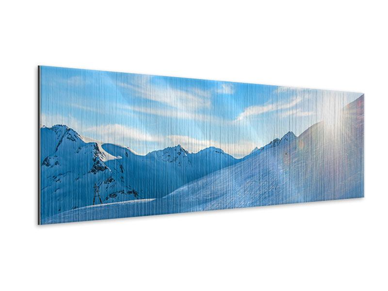 Panoramic Metallic Print Photo Wallaper Sunrise In The Mountains