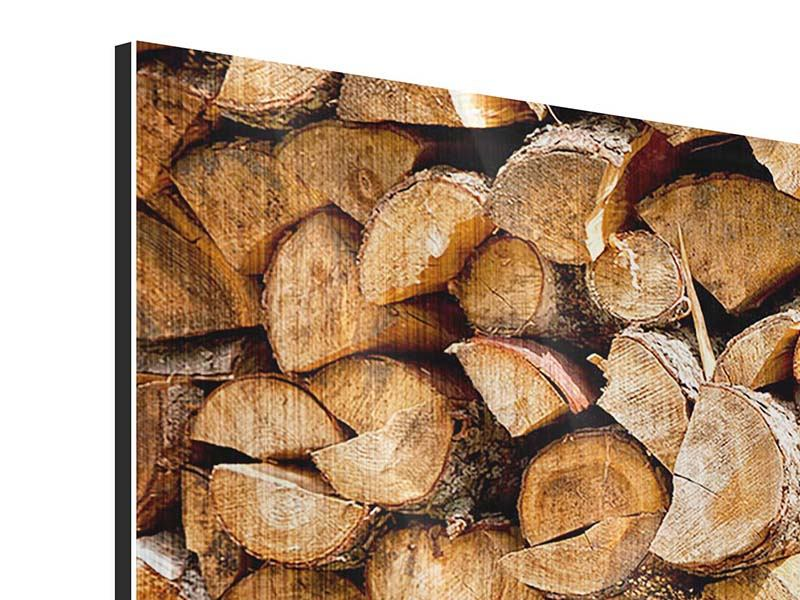 Panoramic Metallic Print Stacked Wood