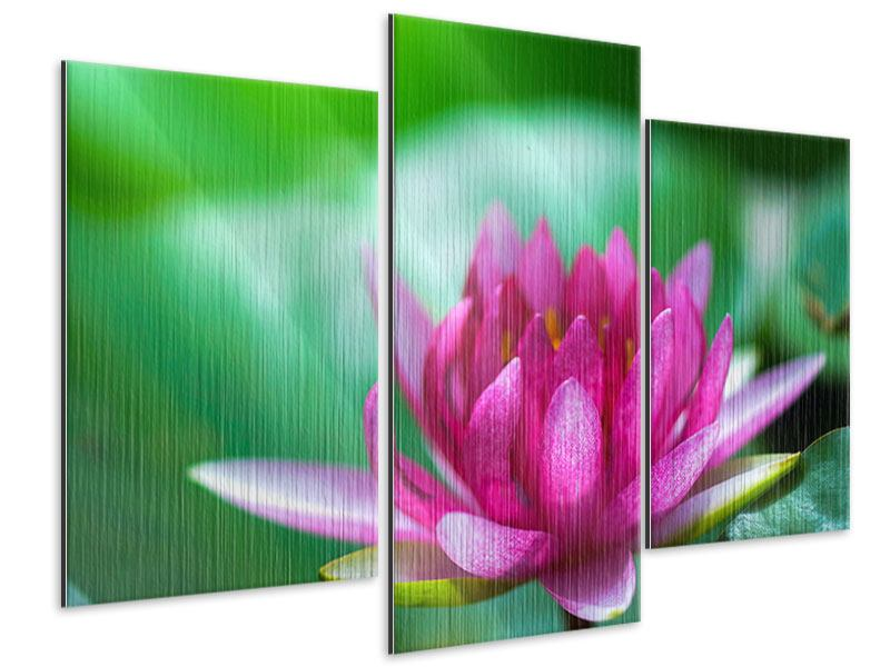 Modern 3 Piece Metallic Print Lotus In Pink