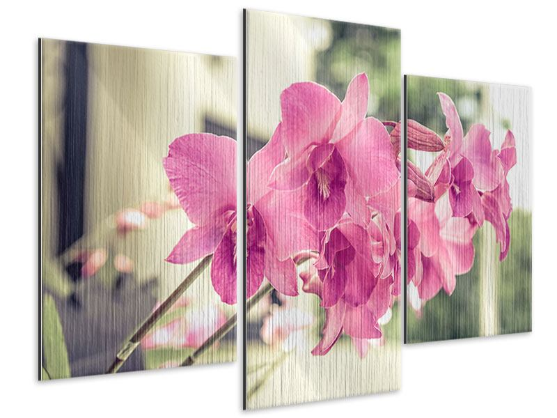 Modern 3 Piece Metallic Print A Window Seat For Orchids