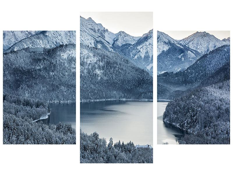 Modern 3 Piece Metallic Print Photo Wallaper Mountains In Monochrome