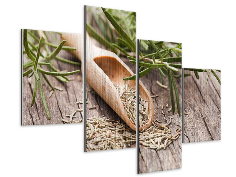 Modern 4 Piece Metallic Print Rosemary