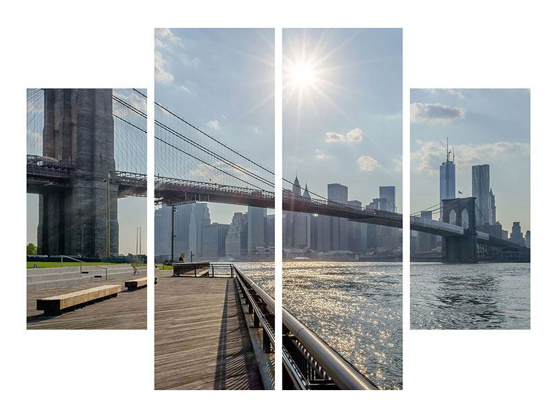 4 Piece Metallic Print Brooklyn Bridge