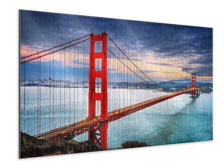 Metallic-Bild Der Golden Gate Bridge bei Sonnenuntergang