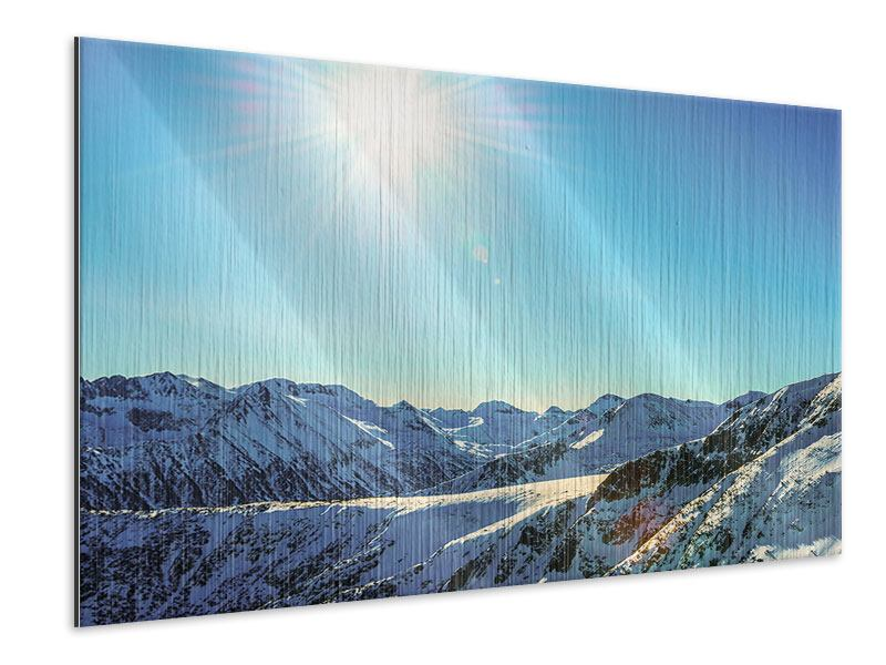 Metallic Print Sunny Mountain Peaks In Snow