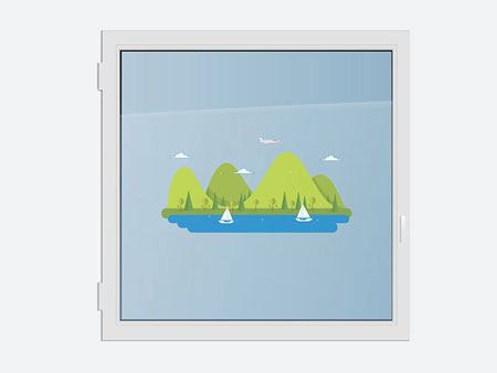 Window Sticker idyllic mountain lake
