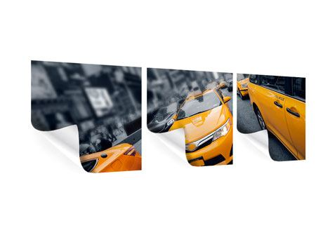 Panoramic 3 Piece Poster Taxi In NYC