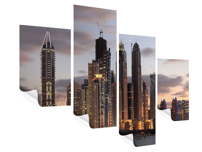 Modern 4 Piece Poster Skyline Dubai At Sunset