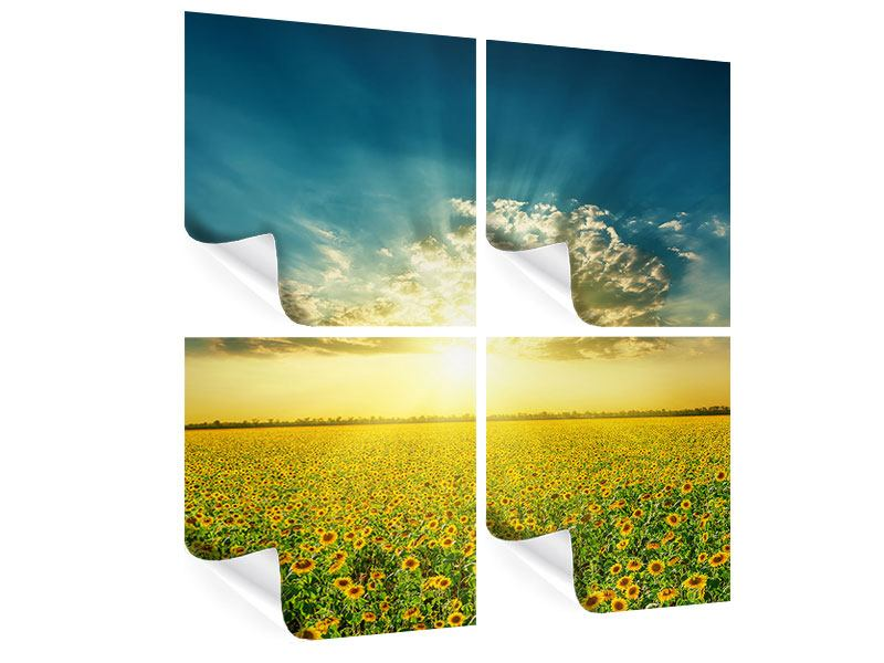 4 Piece Poster Sunflowers In The Evening Sun