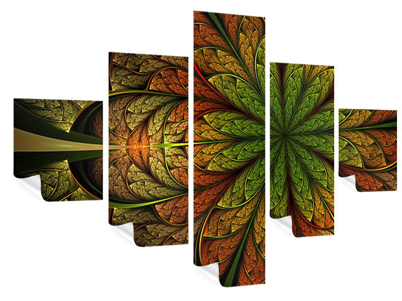 5 Piece Poster Abstract Floral Pattern