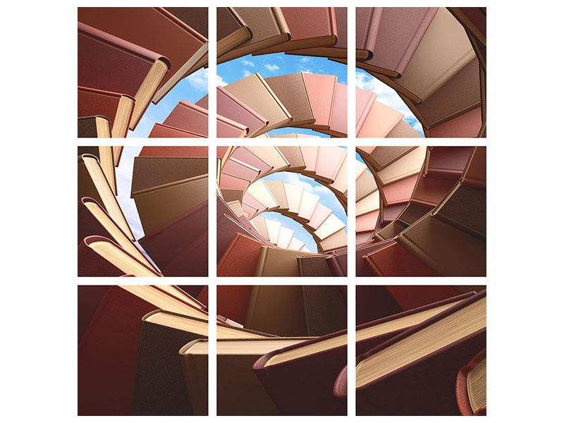9 Piece Poster Abstract Books Spiral Staircase