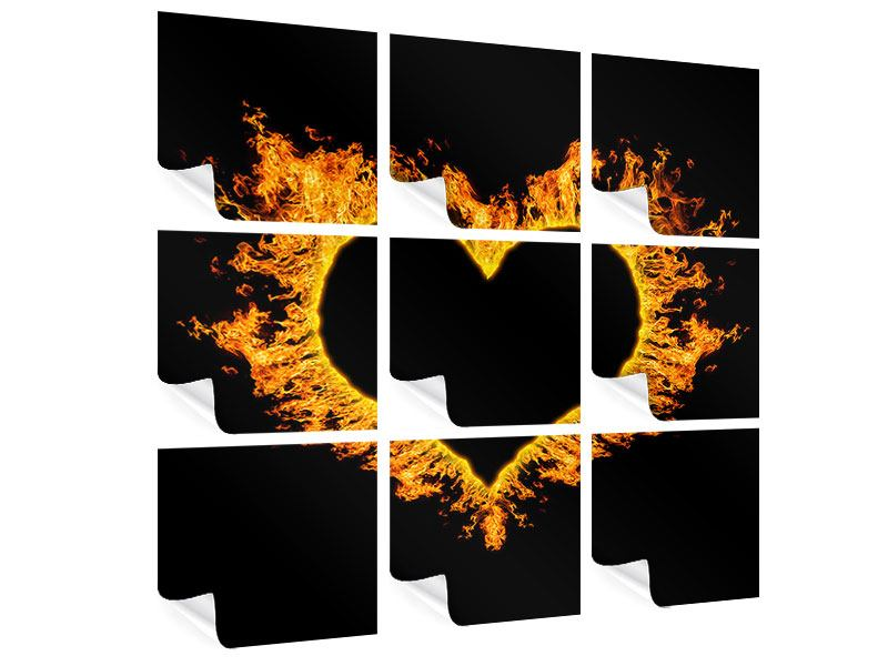 9 Piece Poster Heart Flame