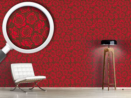 Design Wallpaper Rose Blossoms Red