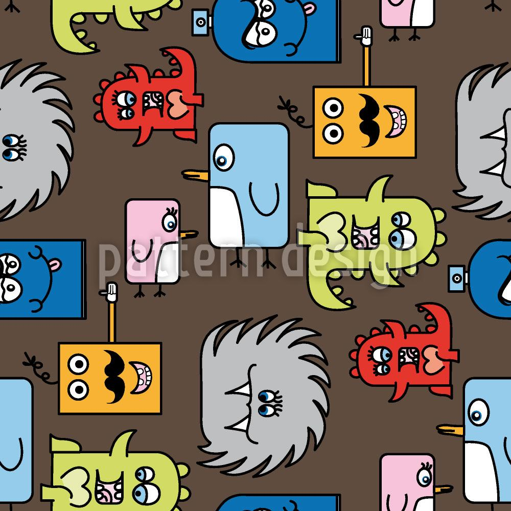 Design Wallpaper Colorful Monsters
