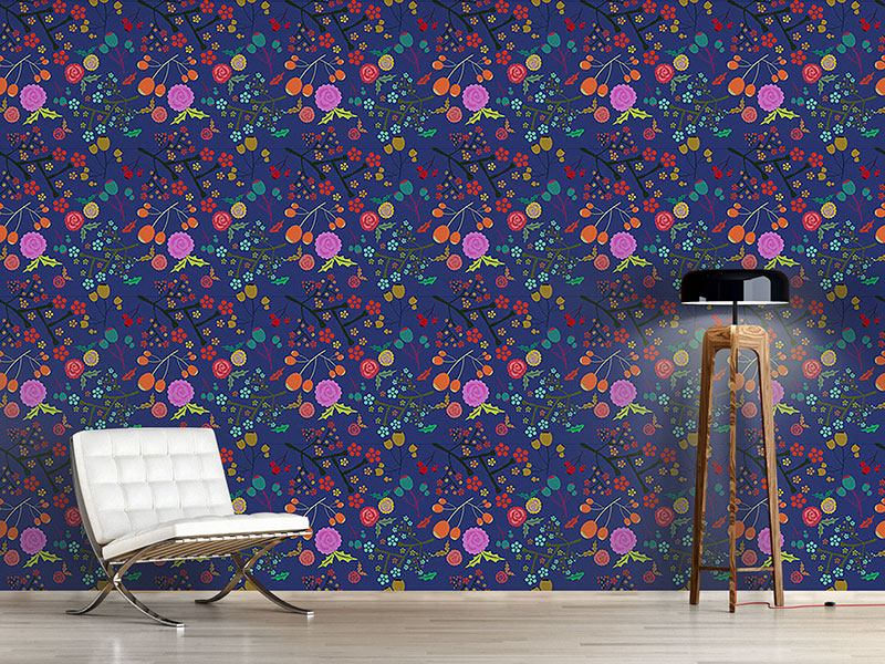 Design Wallpaper Olives And Flowers