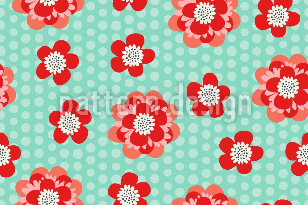Carta da parati Flower Power And Dots