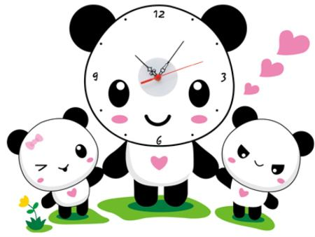 Wall Sticker Children's Clock Panda